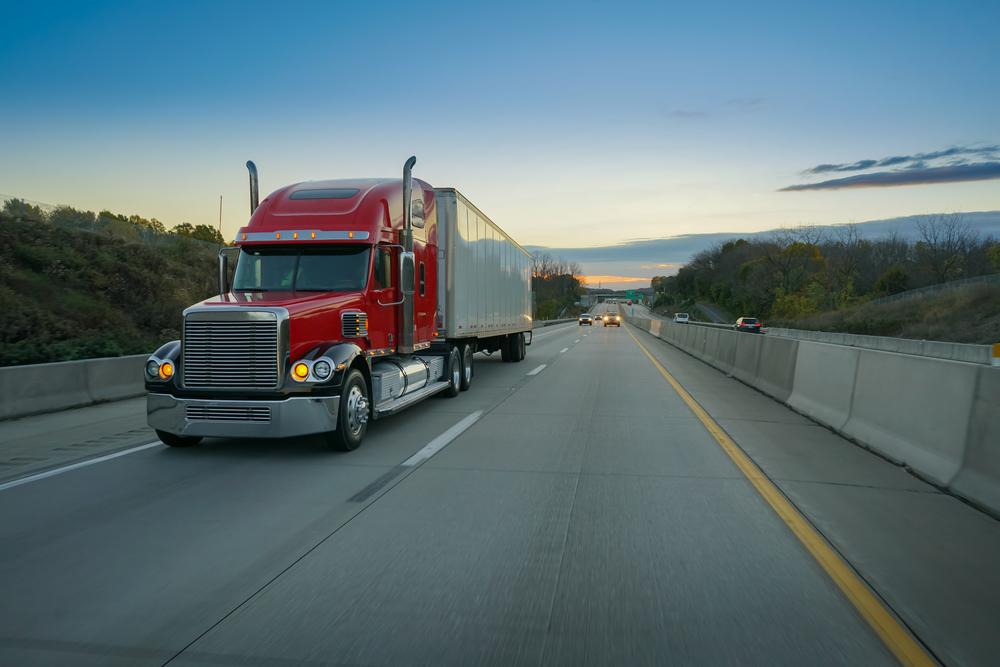 Big,Red,Semi,Truck,On,Highway